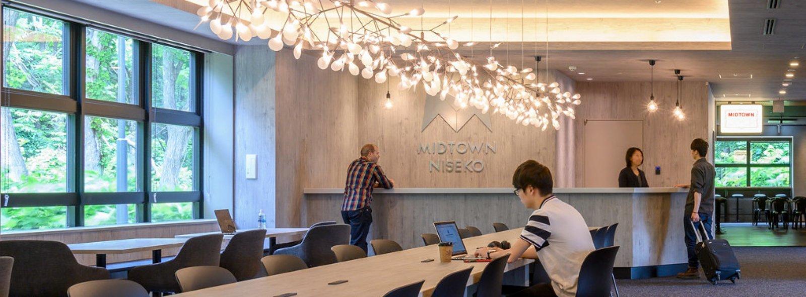 Lobby of Midtown Niseko hotel in summer