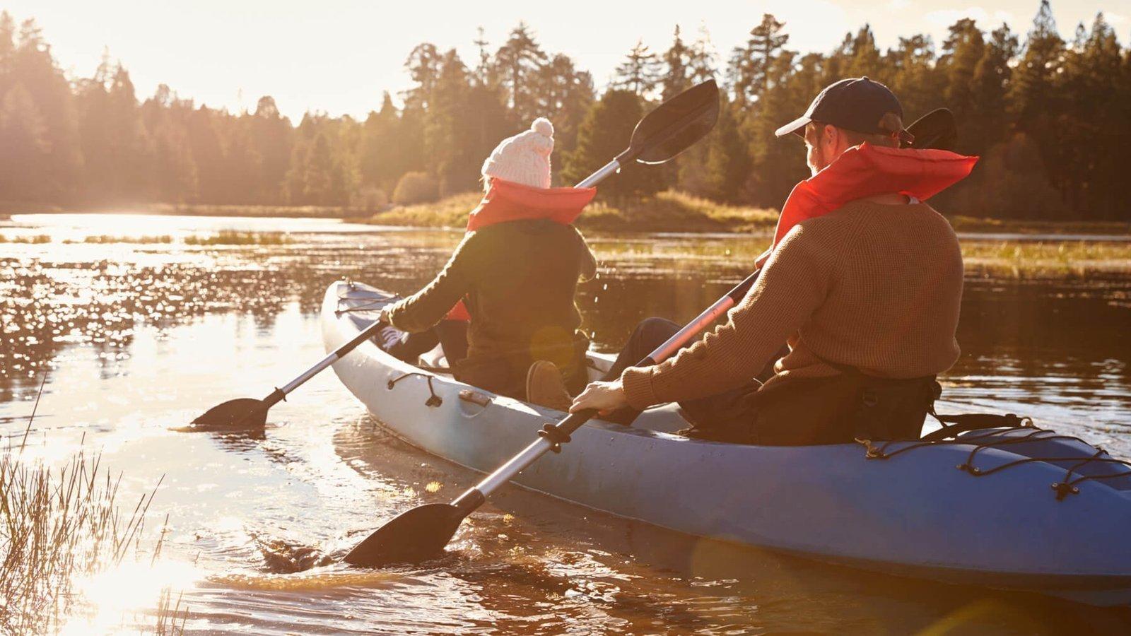 People enjoying fun kayaking