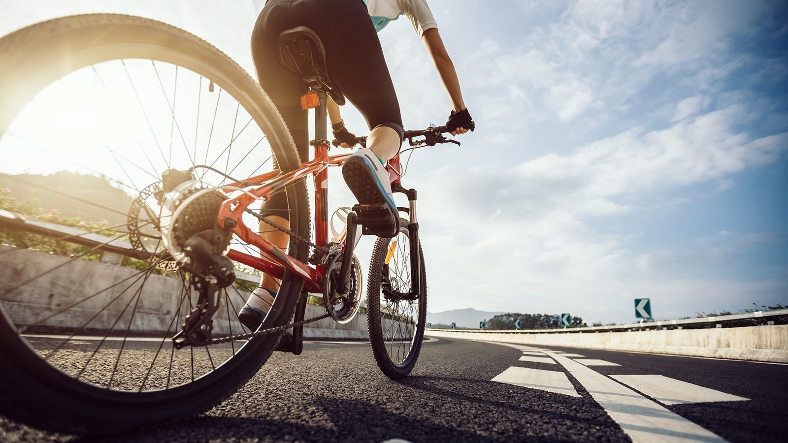 A man enjoys cycling