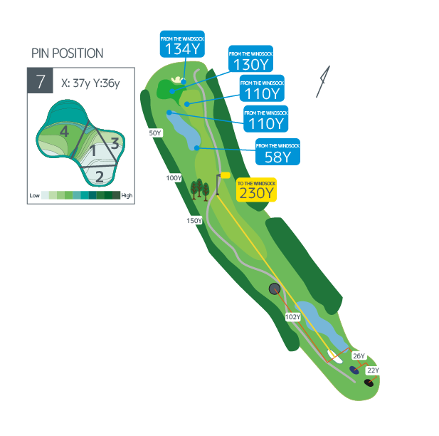 Hanazono golf hole 7 overview image