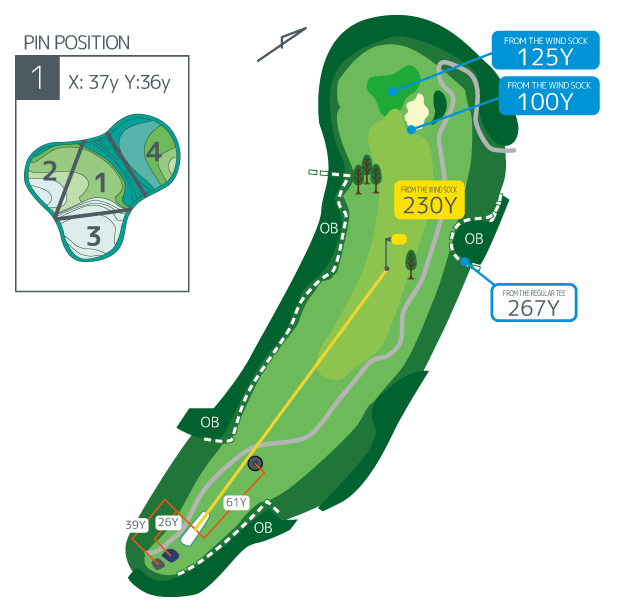 Hanazono golf hole 1 overview image
