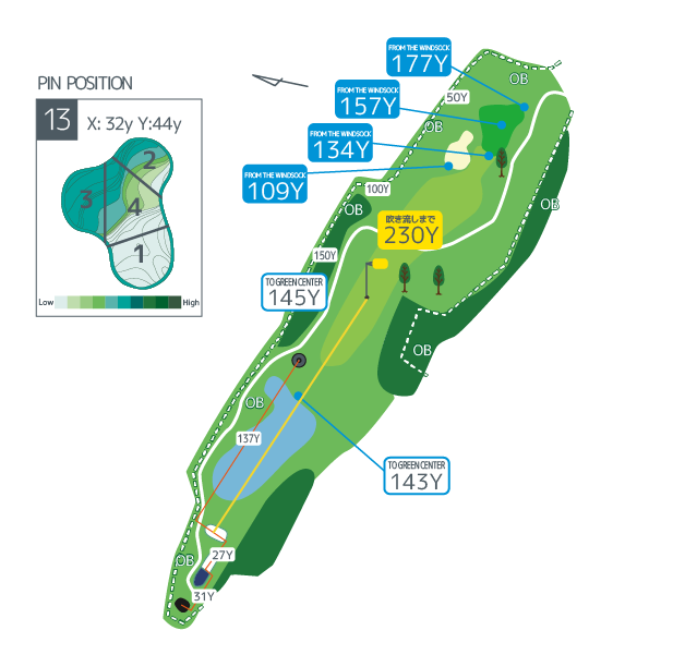 Hanazono golf hole 13 overview image