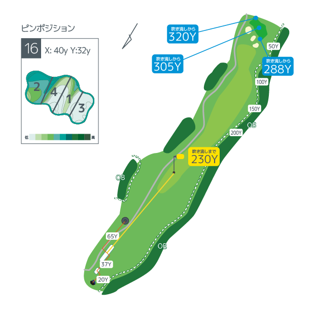 Hanazono golf hole 16 overview image ja