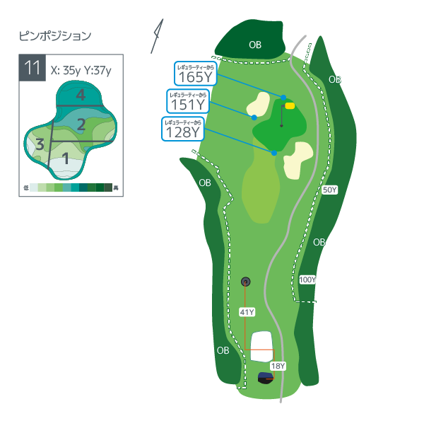 Hanazono golf hole 11 overview image ja
