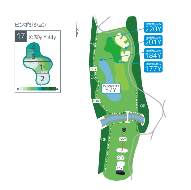 Hanazono golf hole 17 overview image ja