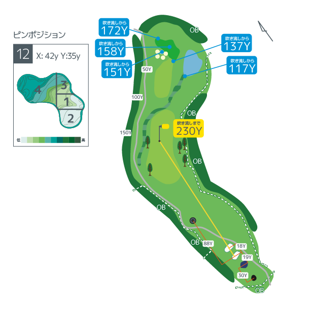 Hanazono golf hole 12 overview image ja
